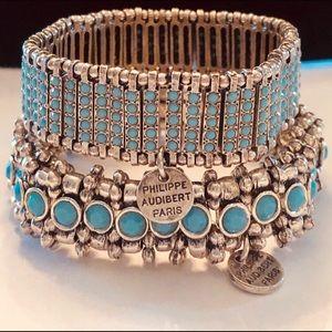 TWO Philippe Audibert Silver & Turquoise Bracelets